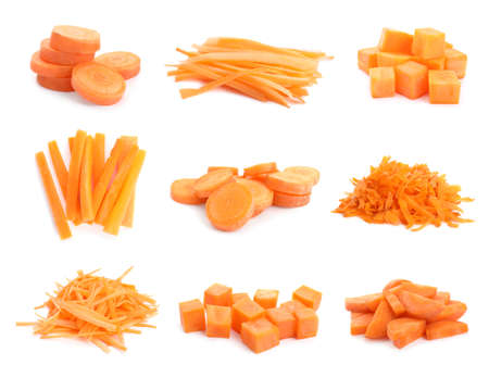 Set of cut fresh ripe carrots on white background