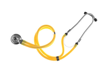 Stethoscope on white background, top view. Medical device Stock Photo
