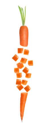 Cut fresh ripe carrot on white background