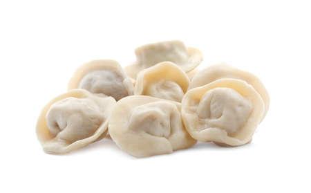 Pile of boiled dumplings on white background Imagens