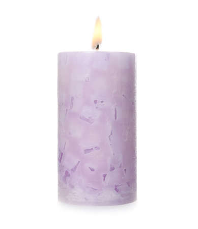 Alight color wax candle on white background 免版税图像 - 124990420