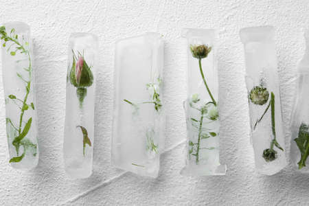Ice cubes with flowers on white background, flat lay