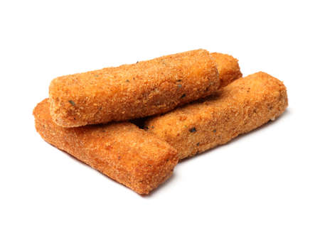Pile of tasty cheese sticks isolated on white Stok Fotoğraf