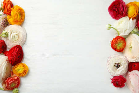 Spring ranunculus flowers and space for text on white wooden background, flat lay Фото со стока - 124997382