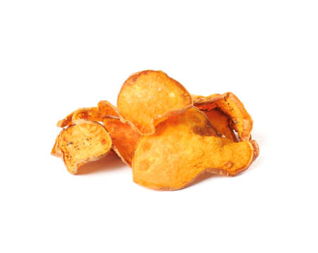 Pile of sweet potato chips isolated on white