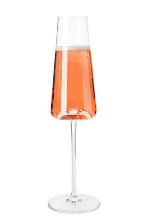Glass of rose champagne isolated on white