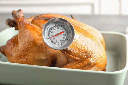 Roasted turkey with meat thermometer in baking dish 스톡 콘텐츠 - 124997649