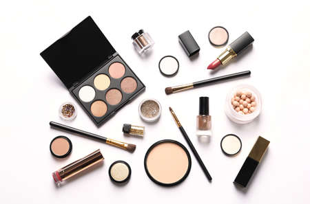 Set of luxury makeup products on white background, top view 写真素材 - 124997743
