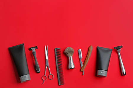 Set of barbers equipment and mens cosmetic products on color background, flat lay. Space for text