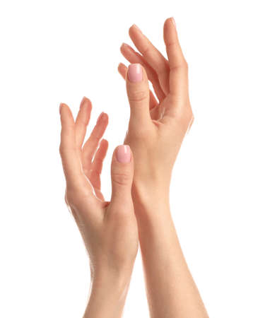 Mujer mostrando las manos sobre fondo blanco, primer plano Foto de archivo