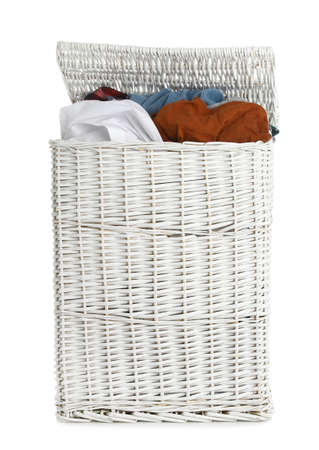 Wicker laundry basket full of dirty clothes on white background Imagens - 124957889