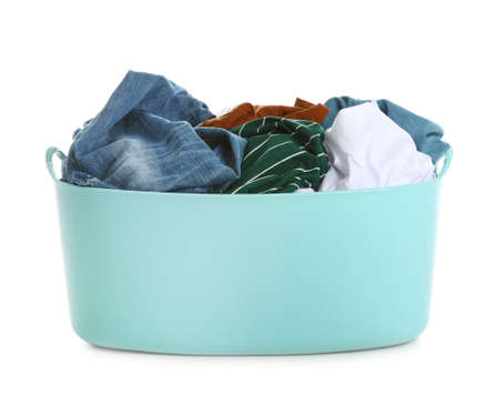 Plastic laundry basket full of dirty clothes on white background Imagens - 124961714