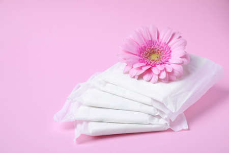 Packed menstrual pads and flower on color background, space for text. Gynecological care Stock Photo