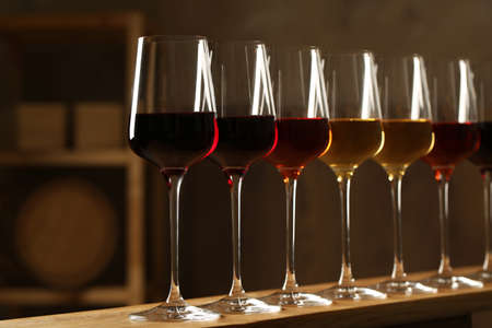Glasses of different wines in cellar. Expensive collection