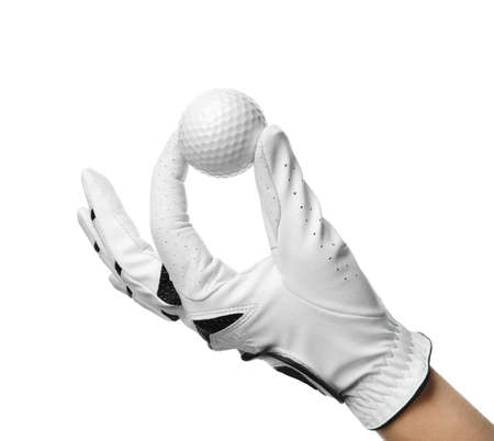 Player holding golf ball on white background, closeup