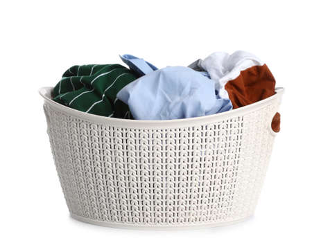 Plastic laundry basket full of dirty clothes on white background Imagens - 124959456
