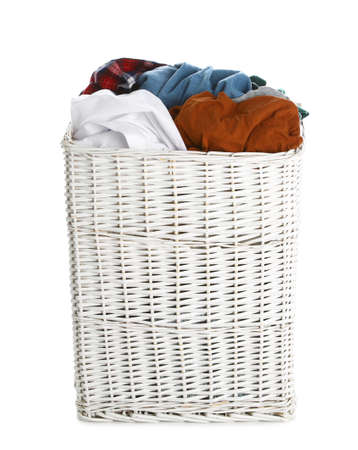 Wicker laundry basket full of dirty clothes on white background Imagens - 124961275