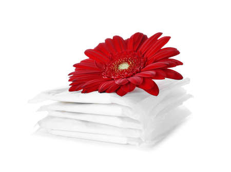 Packed menstrual pads and flower on white background. Gynecological care