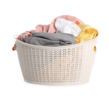 Plastic laundry basket full of dirty clothes on white background Imagens - 124962011