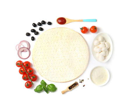 Flat lay composition with base and ingredients for pizza on white background