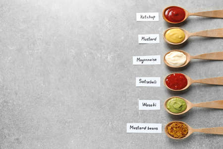 Different sauces in spoons and name tags on gray background, flat lay. Space for text