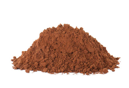 Pile of chocolate protein powder on white background