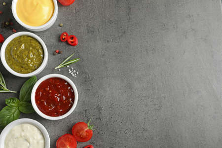 Bowls with different sauces and ingredients on gray background, flat lay. Space for text Stock Photo