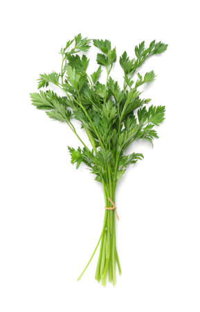 Bunch of fresh parsley isolated on white, top view Stock Photo - 124977585
