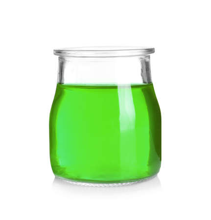 Jar with tasty jelly on white background
