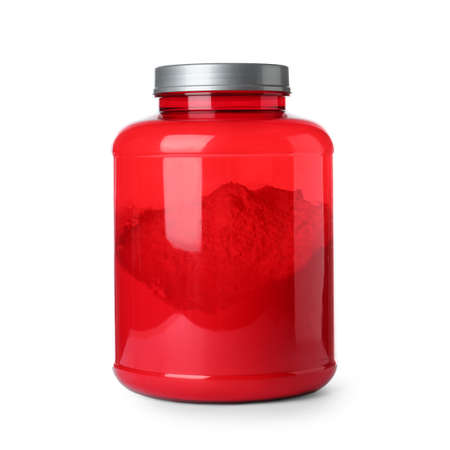Color jar with protein powder on white background