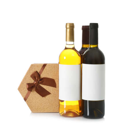Bottles of wine and gift box on white background Stok Fotoğraf - 124988147