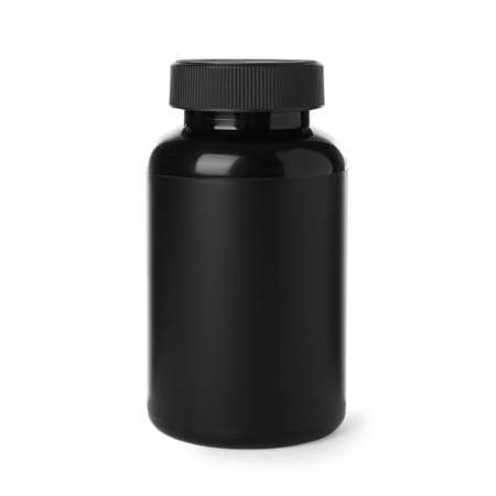 Black jar with protein powder on white background 版權商用圖片