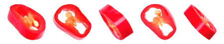 Set of cut red chili pepper on white background. Banner design Stock Photo