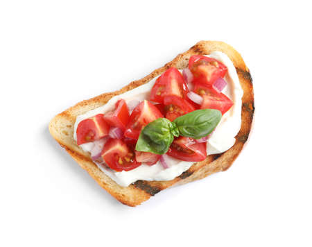 Tasty bruschetta with tomato on white background, top view 写真素材