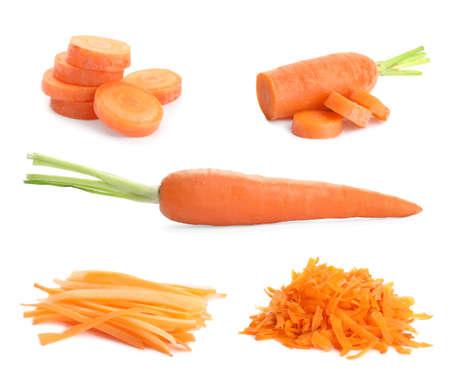 Set of fresh ripe carrots on white background Imagens