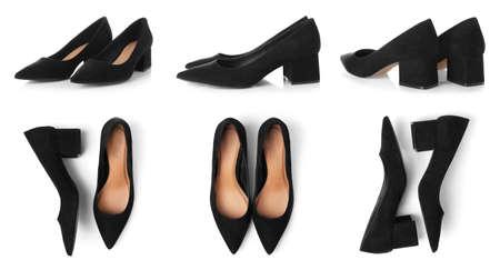 Set of stylish female shoes on white background