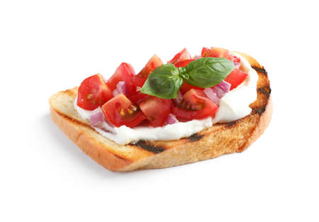 Tasty bruschetta with tomato on white background