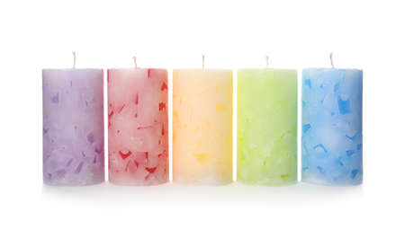 Five color wax candles on white background 스톡 콘텐츠