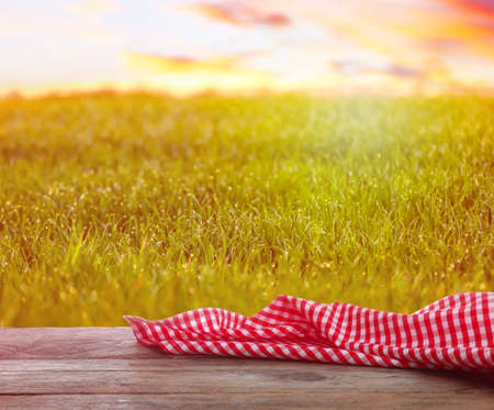 Empty table with checkered napkin outdoors, space for design. Summer picnic Фото со стока