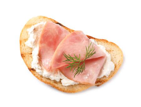 Tasty bruschetta with ham on white background, top view Banco de Imagens