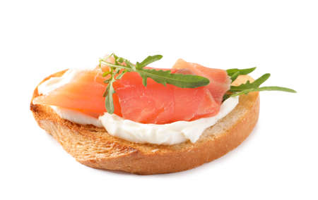 Tasty bruschetta with salmon and arugula on white background