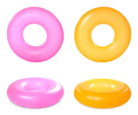 Set of bright inflatable rings on white background Banco de Imagens