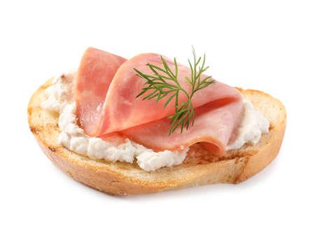 Tasty bruschetta with ham on white background Banco de Imagens
