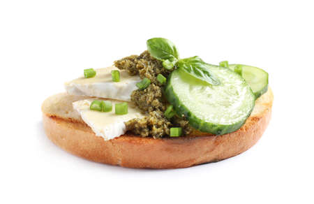 Tasty bruschetta with cucumber and cheese on white background