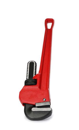 New pipe wrench on white background. Professional construction tool Standard-Bild