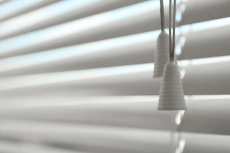 Closeup view of closed horizontal window blinds