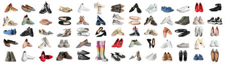 Set of different stylish shoes on white background