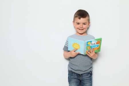 Cute little boy reading book on white background, space for text 写真素材