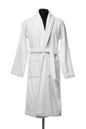 New comfortable bathrobe on mannequin against white background