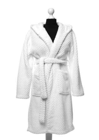 New comfortable bathrobe on mannequin against white background